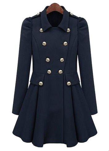 Navy Pleated Long Sleeve Buttons Ruffles Coat - Sheinside.com