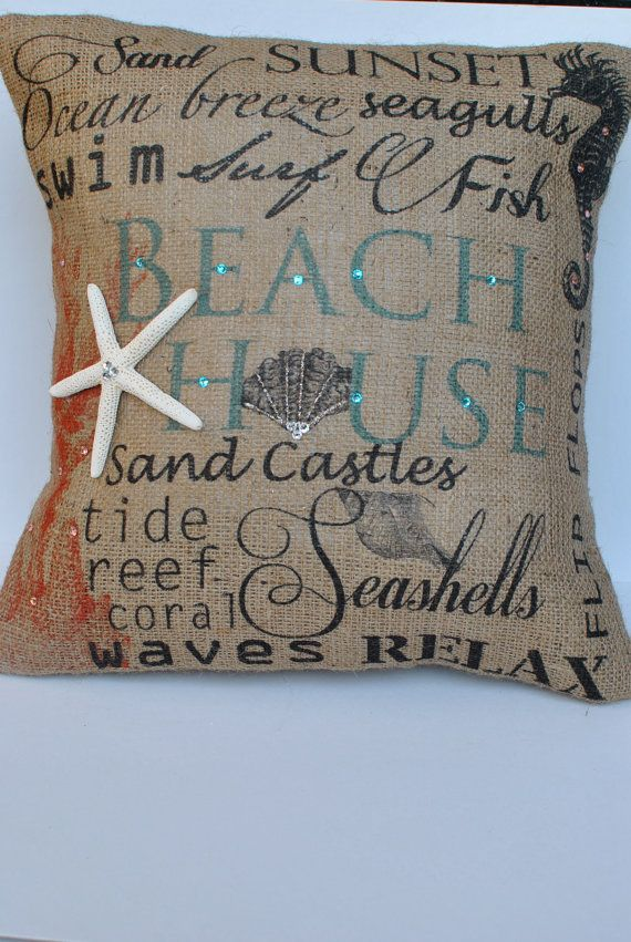 Beach House  Beach themed burlap pillow by MonMellDesigns on Etsy, $46.00