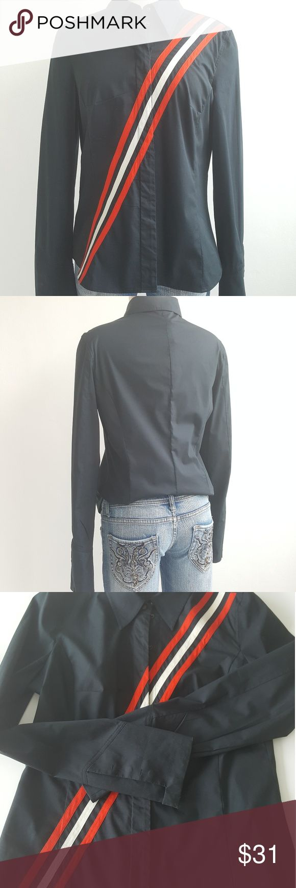 """Hugo Boss Button Down Women's Blouse Hugo Boss navy blue blouse with straps details on the front, great with white jeans or skirt,  gently used and good conditions,  snap closure. 98% cotton 2% spandex.  Measurements are length 24"""" bust 36"""" waist 34"""" Hugo Boss Tops Blouses"""