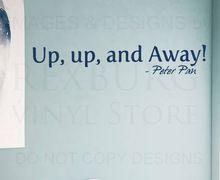 5pcs/lot muursticker sticker citaat vinyl kunst belettering up up en weg peter pan(China (Mainland))