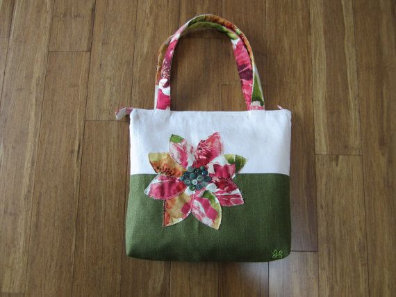 Pink tote purse Green tote bag pink by BerkshireCollections, $57.00