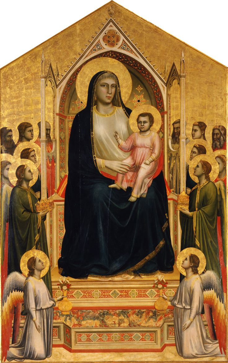 """Giotto's """"Maestà,"""" 1310, is one of the masterpiece works in the Uffizi's collection. It was painted for the Umiliati Altar in the Chiesa di Ognissanti (Church of the Ognissanti) in Florence and pays homage to the Virgin Mary. In the work, an angel offers her a precious crown for her head while two others at her feet offer her roses and lilies."""