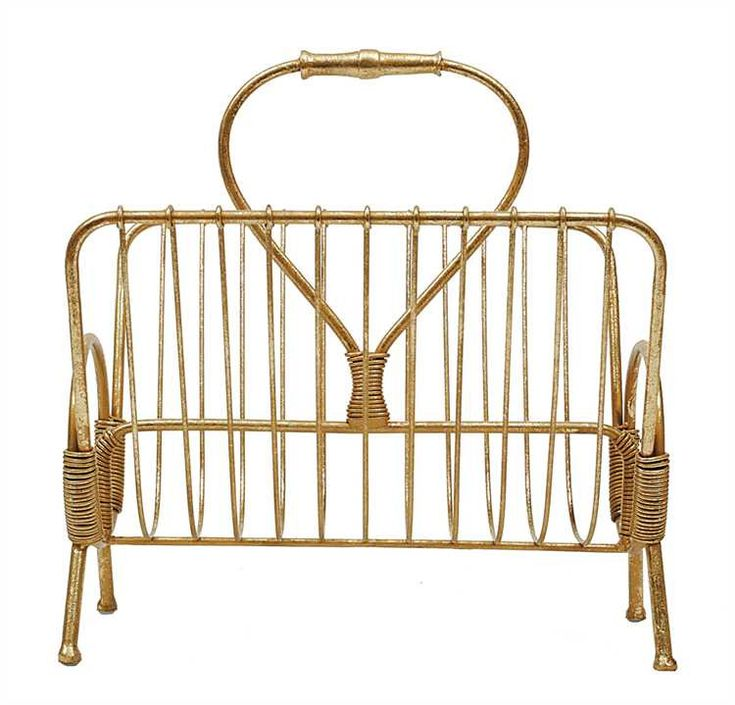 Gold Farmhouse Magazine Rack - From the Home Decor Discovery Community at www.DecoandBloom.com