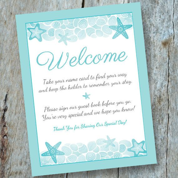 Destination Wedding Welcome Escort Card/Guest Book Sign