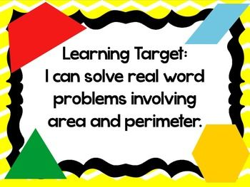 Area and Perimeter Word Problems PowerPoint with Exit Slip