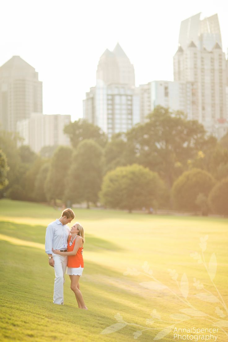 Piedmont Park Atlanta skyline engagement in summer