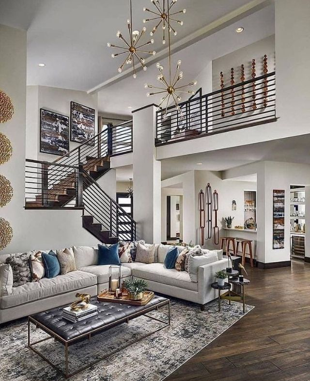 Cozy Modern With Funky Lights Contemporary Decor Living Room Luxury House Designs Open Living Room