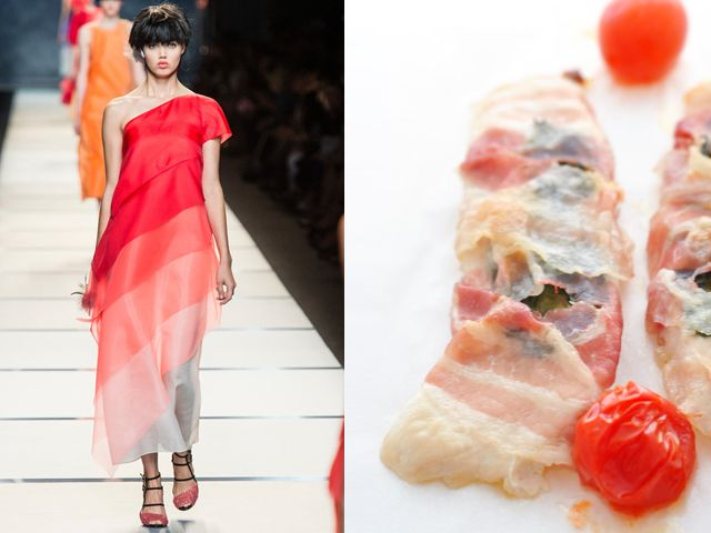 Fendi ss 2014 / Chicken scallop with bacon, sage and Scamorza cheese