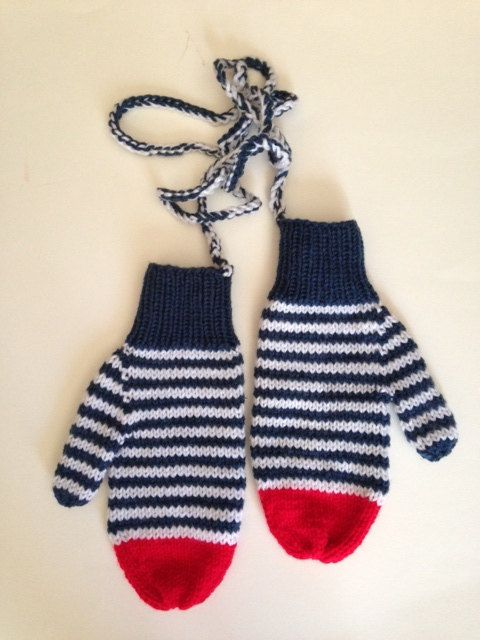 Adult Dark Blue and White Striped Mittens with Red by seewhatimade,