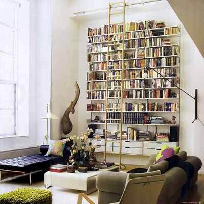 like the ladder concept: Ladder, Libraries, Bookshelves, Living Rooms, Living Spaces, Interiors, High Ceilings, Book Shelves, Bookca