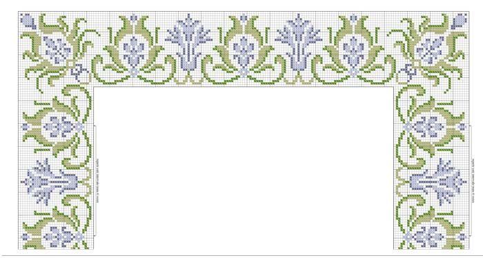 Caminho de mesa branco ponto cruz verde e azul - Linha Anchor Mouliné