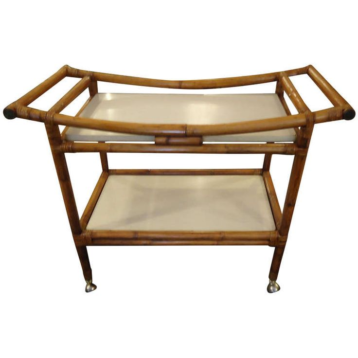Bamboo and Laminate Midcentury Bar Cart with Asian Flair | From a unique collection of antique and modern bar carts at http://www.1stdibs.com/furniture/tables/bar-carts/