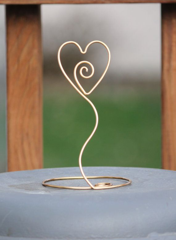 10 Heart with Swirl Wire Picture Holder by InspiredwithWire, $15.00 - Not sure if it's tall enough... but very cute