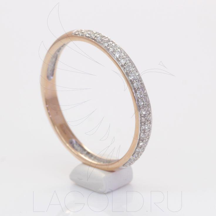 Кольцо, дорожки из бриллиантов, красное золото 585 пробы. Кольца с бриллиантами. LaGold.ru ювелирные украшения на любой вкус.