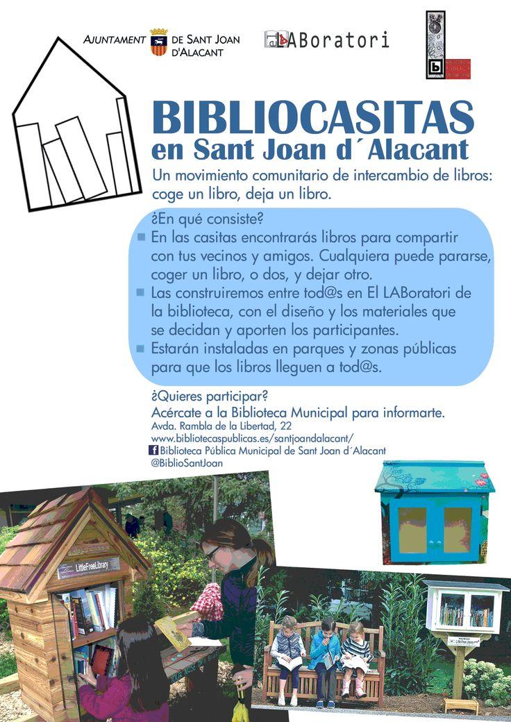 Primer lanzamiento del proyecto Bibliocasitas o Pequeñas Bibliotecas Gratuitas( Little Free Libraries) en Sant Joan d'Alacant: proyecto de la Biblioteca Municipal. Octubre de 2014