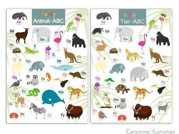 Abc Poster Mit Den Lustigen Tieren Deutsch Und Englisch Abc Poster Funny Animals Funny