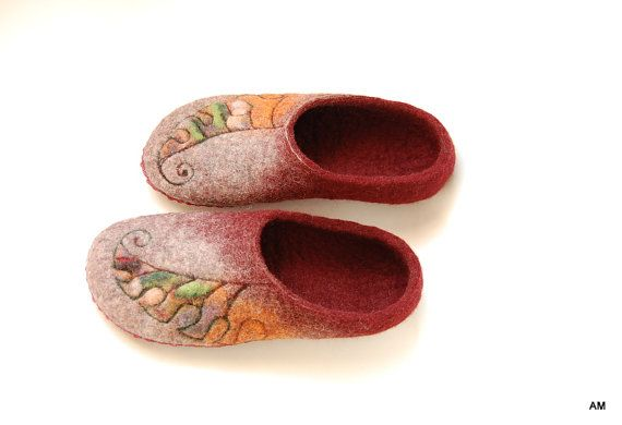 felted wool slippers for women Leafs - wool clogs-warm gift-eco living-9 US