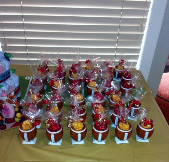 49er Themed Shot Glass Party Favors Filled With Jelly Beans