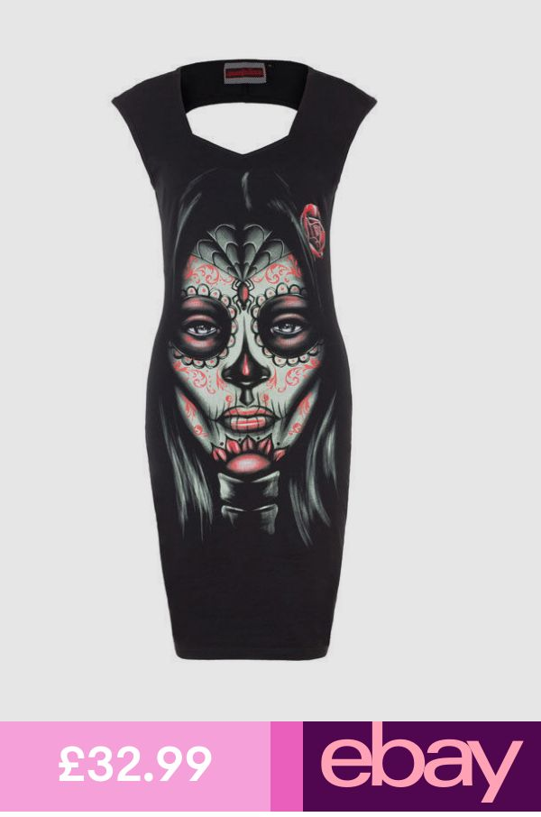 JAWBREAKER DAY OF THE DEAD CUT OUT BACK BODYCON DRESS TATTOO GOTH PUNK 8-16