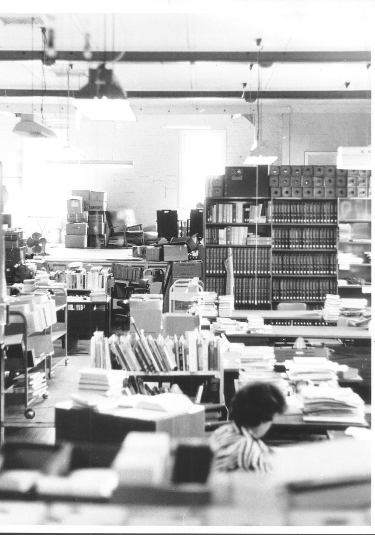 Library workroom and book depot in Old School of Arts hall, 1976.