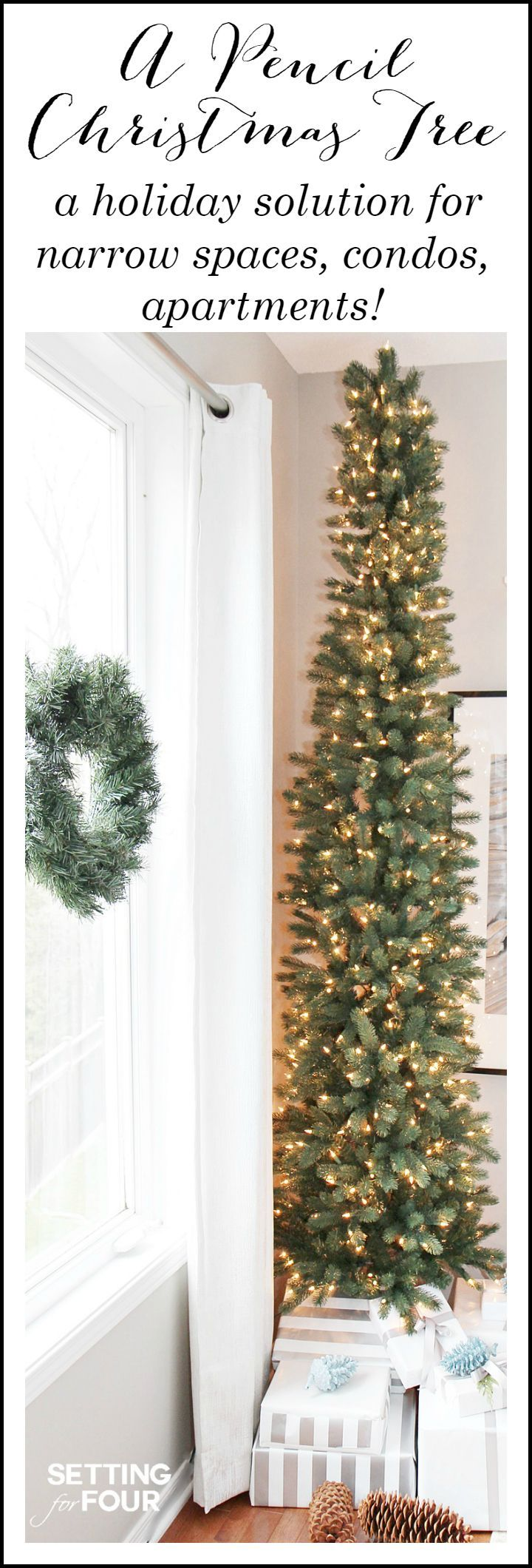 See how you can decorate any narrow spot in your home with a PENCIL CHRISTMAS TREE - a slim tree style, designed for narrow spaces like foyers, hallways and corners! PERFECT for apartments and condos! #christmas #christmastree