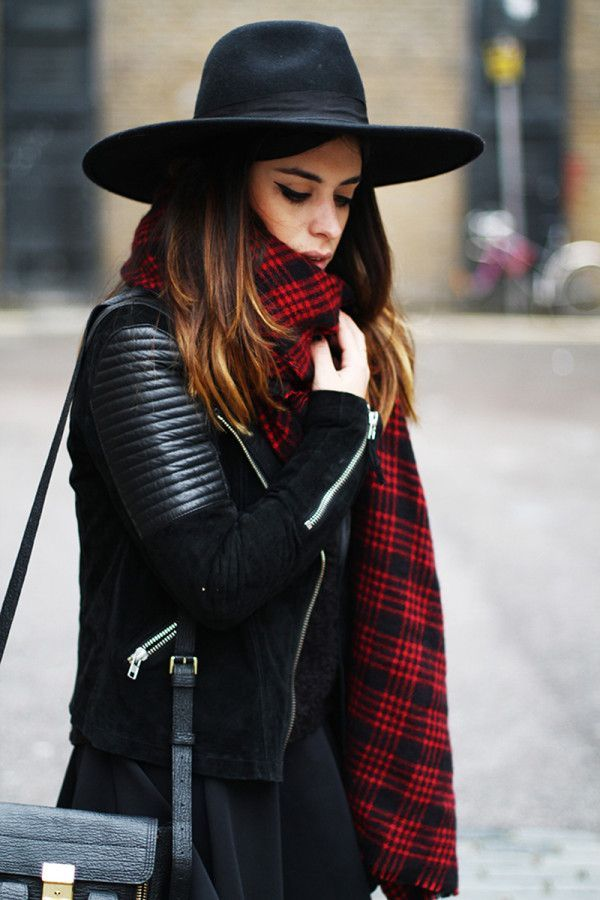 Shop this look on Lookastic:  http://lookastic.com/women/looks/hat-scarf-biker-jacket-cropped-sweater-crossbody-bag-skater-skirt/7740  — Black Wool Hat  — Red Plaid Scarf  — Black Suede Biker Jacket  — Black Fluffy Cropped Sweater  — Black Leather Crossbody Bag  — Black Skater Skirt