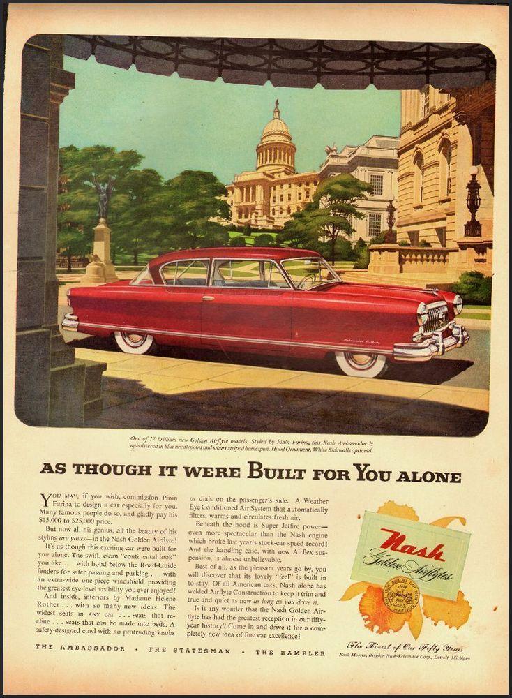 1952 Vintage automobile ad/Nash Air Flight/Red Two door (122212)