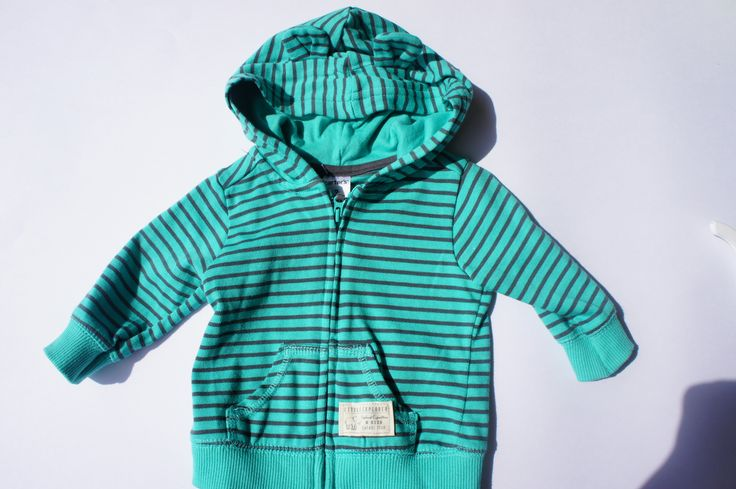 Carter's-Teal and Grey Striped Zip Up Hoodie-Size 3 months