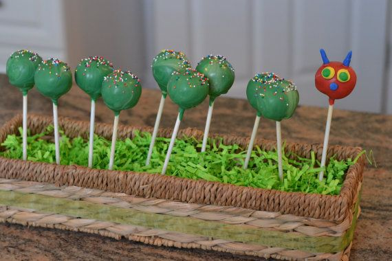 Very Hungry Caterpillar Cake Pops by shopsweetdetails on Etsy, $40.50