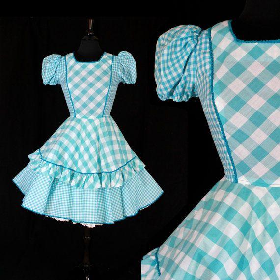Vintage Blue & White Dress - Size XS Small 1950s 1960s Square Dancing Dress / Plaid Ruffles