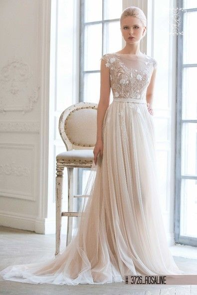 "Wedding dress in soft Champagne and off white colour -""Love Juliette""Collection"