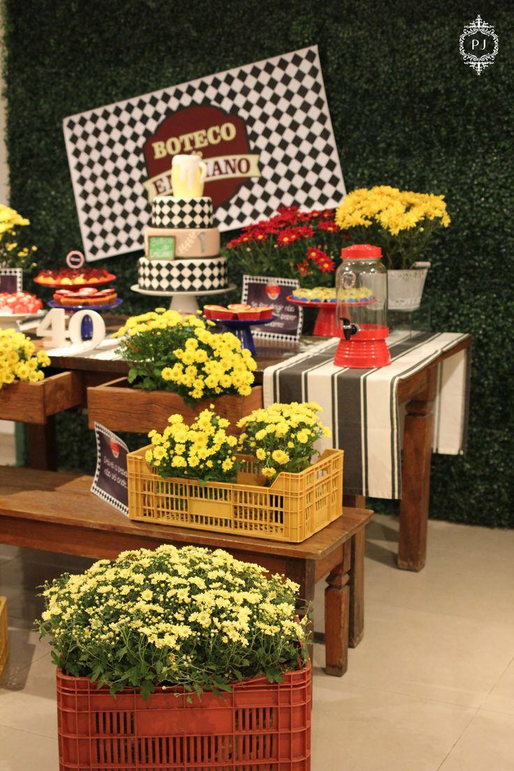 Mesa decorada por Patrícia Junqueira, aniversário de 40 anos tema Boteco .