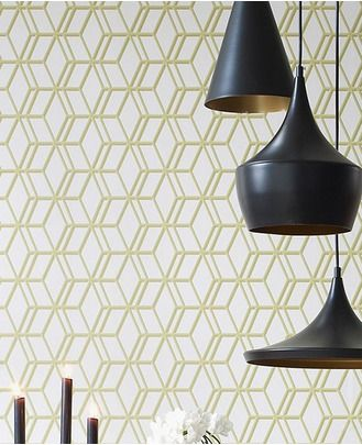 31-619 Steve Leung Ling Beige,Green Geometric Wallpaper | Graham & Brown
