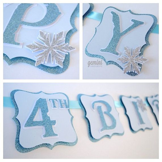 Happy Birthday Banner, Winter Wonderland Frozen Birthday Banner, Glitter Banner on Etsy, $38.00