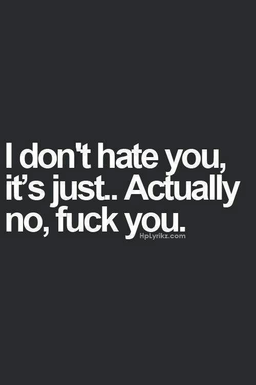 I don't hate you it's just... Actually no, fuck you.
