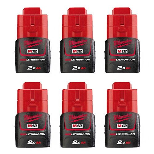 Replacement Battery 2000mAh for Milwaukee 2207-20 / 2411-22 / 2471-20 Power Tool Models (6 Pk)
