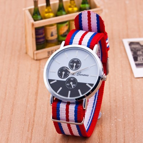 3 Pack Nylon With Fake Three Thin Watches Geneva (Colour  Red red edge) 951f34ca0a8a1
