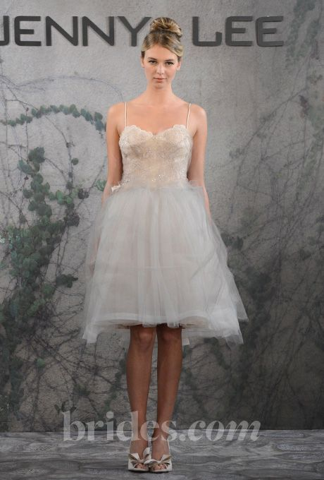 Brides.com: Jenny Lee - Fall 2013. Style 1315, knee-length A-line wedding dress with a Chantilly lace bodice, beaded spaghetti straps, and a tulle skirt, Jenny Lee  See more Jenny Lee wedding dresses in our gallery.