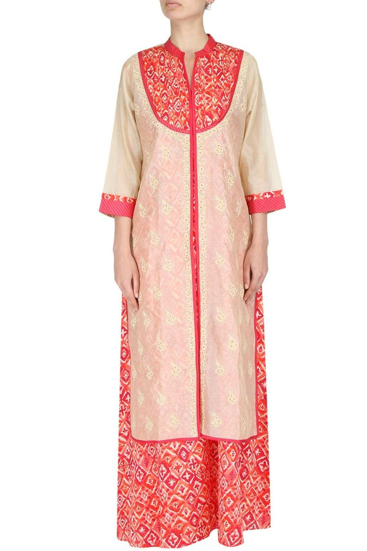 #beigecape #redprint #tunicsandcapes #indianwear #differentisit #creativestyling #printedpassion #onepiece #labelsurabhiarya