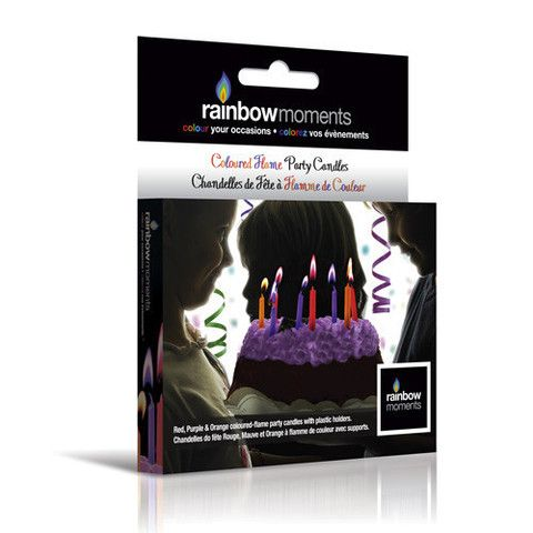 Rainbow Moments color flame candles in red, orange and purple. Fits perfectly with any theme for girl's birthday parties!
