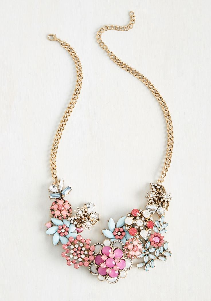 Vow to Wow Necklace in Pastels. Each time you clasp the golden curb chain of this statement necklace at your nape, youre making a promise to fill the air with flair! #multi #modcloth