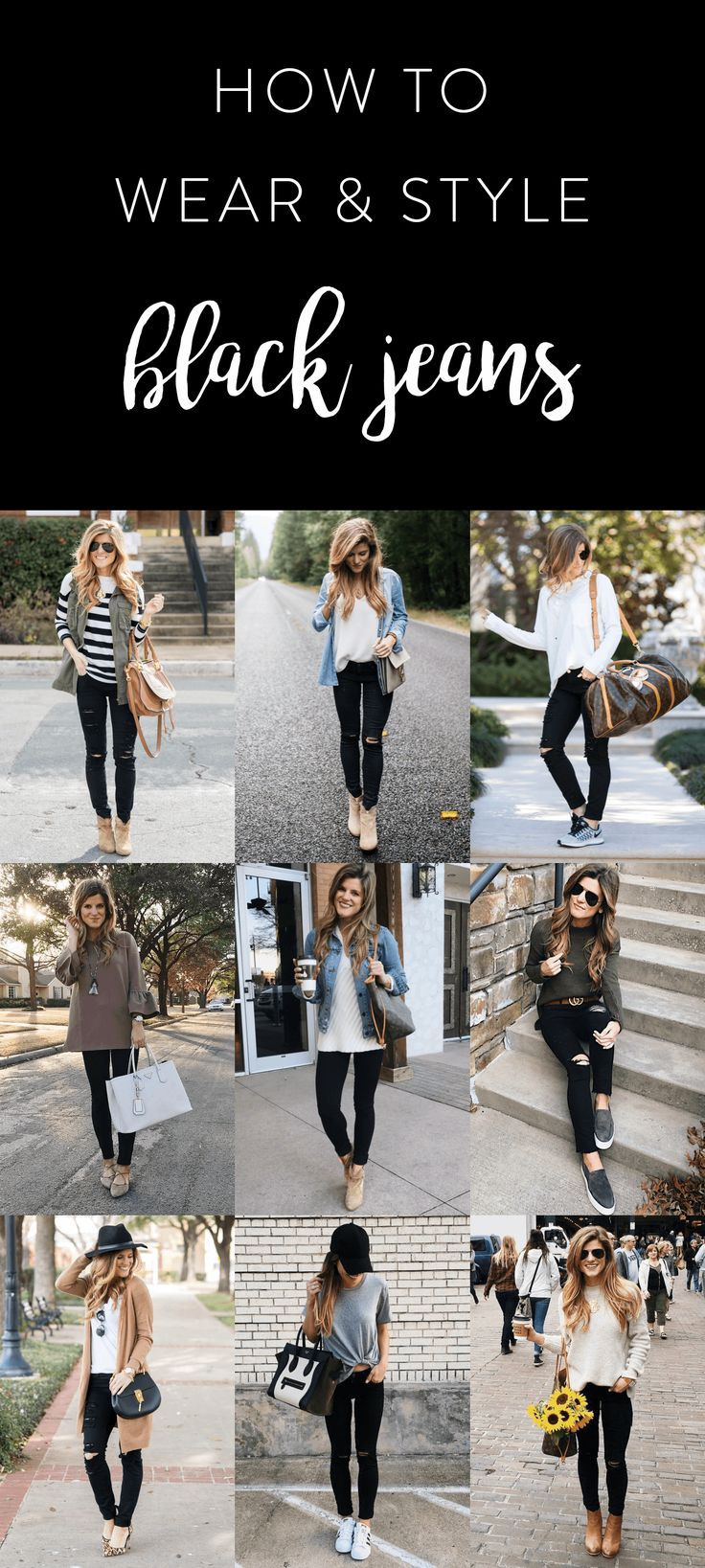 what to wear with black jeans, how to wear black jeans, black jeans outfit ideas, outfits with black jeans