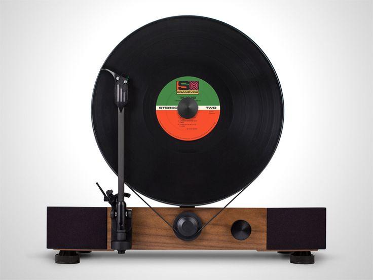 High-Performance Vertical Turntable with Full-Range Stereo Speakers. MDF Hardwood-Veneered Base. Built in Chicago.