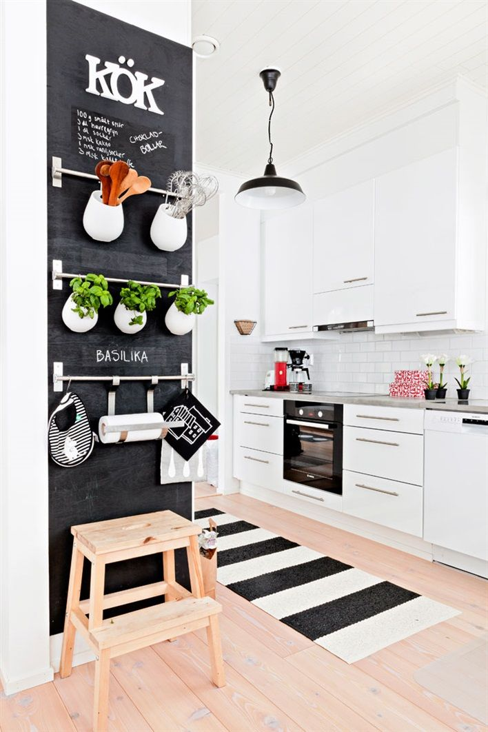 Fun chalk board wall. Love this black and white kitchen. #kitchen