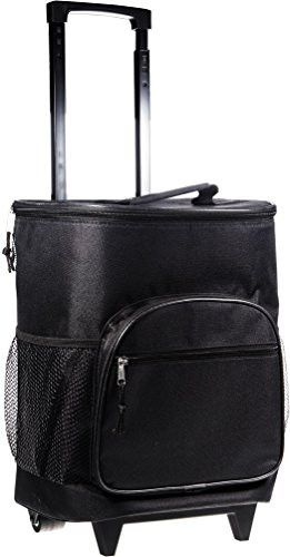 Attractive Insulated Rolling Cooler Bag with Telescoping Handle 16-inch 21-quart Wheeled Cooler (Solid Black)