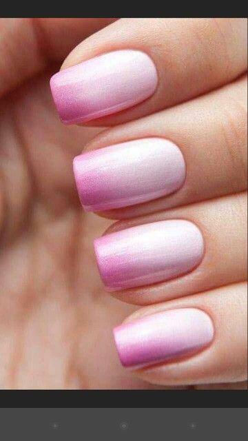 pink shimmer ombre manicures pinterest unha esmaltes e unhas decoradas. Black Bedroom Furniture Sets. Home Design Ideas