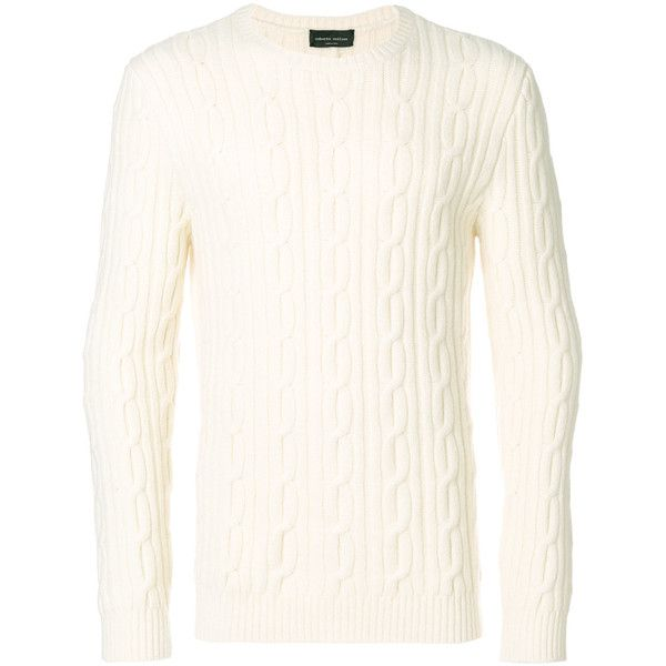 Roberto Collina cable knit jumper (€375) ❤ liked on Polyvore featuring men's fashion, men's clothing, men's sweaters, white, mens white sweater, mens white cable knit sweater, mens cable sweater, mens chunky cable knit sweater and mens cable knit sweater