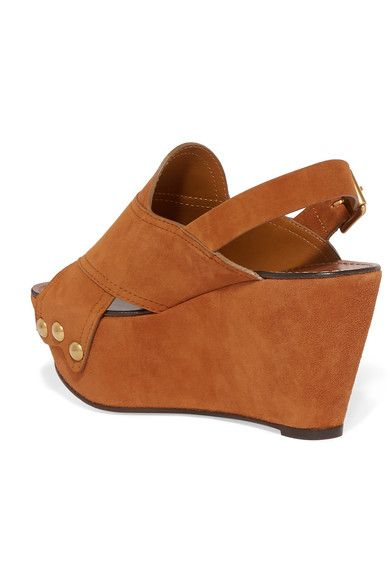 Chloé - Suede Wedge Sandals - Tan - IT40.5
