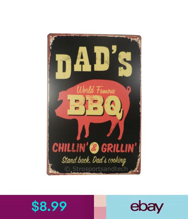Dads World Famous Bbq Tin Sign Bar Diner Cafe Garage Wall