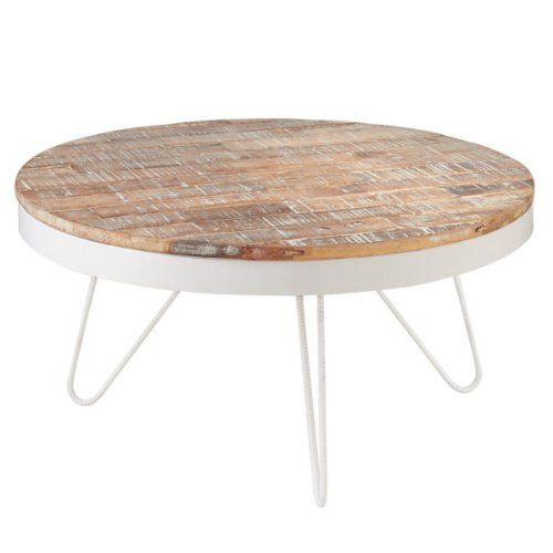 "31.5"" Nautical Cape Cod Round White Coffee Table With"
